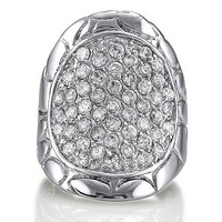 Sterling Silver 925 Cubic Zirconia CZ Saddle Fashion Right Hand Ring #r093