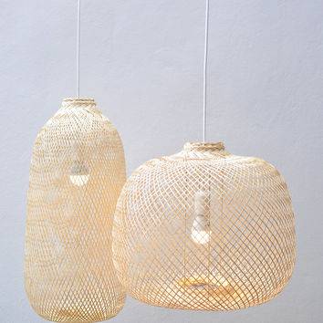 Bamboo Pendant Light, Repurposed Fish Trap Ceiling Lamp, Detailed Woven Bamboo Hanging Lamp, Bohemian Décor  / PL05