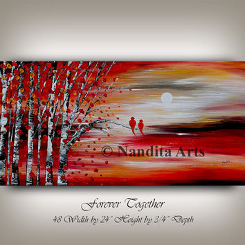 """Painting, 48"""" Love Bird Landscape Painting Mint, Wedding Gift for Couple Love Birds Art Love Painting Anniversary Gift for Couple, Nandita"""