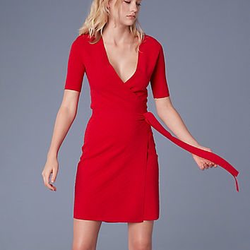 Short-Sleeve Sweater Wrap Dress
