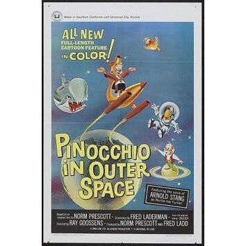 Pinocchio In Outer Space Movie poster Metal Sign Wall Art 8in x 12in