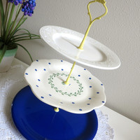 Blue 3-tier Cake Stand Serving Tray, Ruffle Scalloped Polka Dot Plate and Yellow Handle