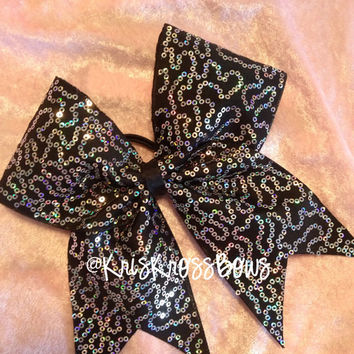 Cheer Bow /Black with Iridescent Sequin