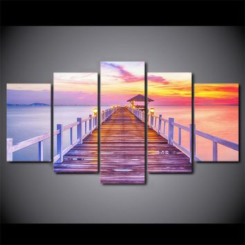 Lake Pier Dock at Sunset Seascape Seaside Canvas Prints Wall Pictures for Living