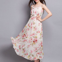 Floral Print Strappy Ruffled Maxi Dress
