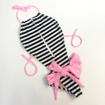 Stripes one piece swimsuit
