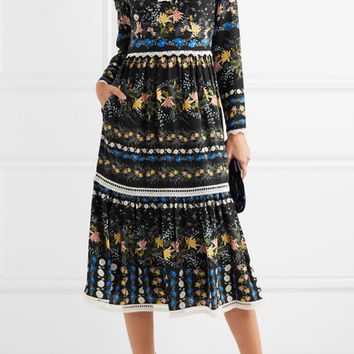 Erdem - Georgie lace-trimmed floral-print silk-crepe midi dress