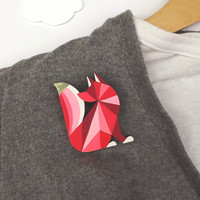 Geometric Brooch Fox Red - Harlequin Fox