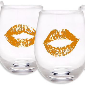 Posh Gold Lips Stemless Wine Glasses