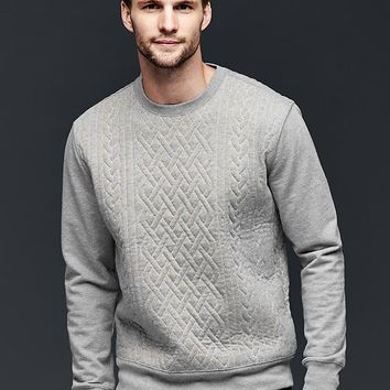 Gap Men Quilted Cable Sweatshirt