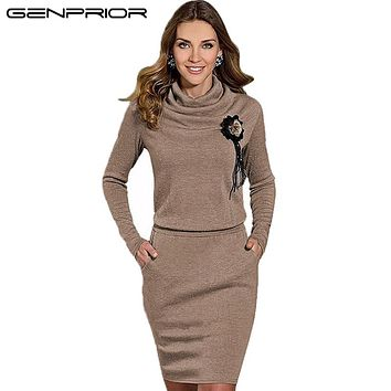 GENPRIOR 2017 Autumn Winter Women's New Fashion Elegant Plus Size Warm Long-sleeved Pullover Single-piece Dress Warm for Female