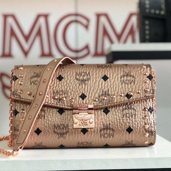 Kuyou Gb79810 Mcm Millie Champagne Crossbody Bag In Studded Outline Visetos Leather  23.5x13.5x5cm