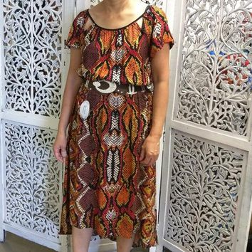 Animal Printed Dress with Triangle Detail