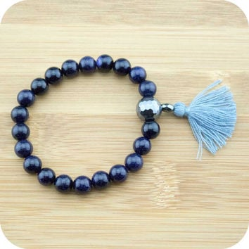 Blue Sandstone Mala Bracelet with Faceted Hematite