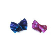 Set of Two Colorful Kawaii Felt Bow Hair Comb Womens Hair Accessory Slides