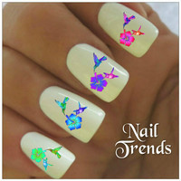 Hummingbird Nail Decal. 20 Vinyl Stickers Nail Art