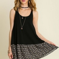 Umgee Black and Floral Tunic Tank Top