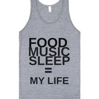 Food. Music. Sleep-Unisex Athletic Grey Tank