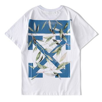 Off White  Fashion New Summer Cross Arrow Leaf Floral Print Women Men Leisure Top T-Shirt White