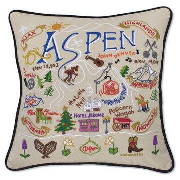 Ski Aspen Hand Embroidered Pillow