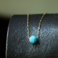 Tiny Turquoise Color Crystal Round Sphere Ball Solitaire Gold Silver Necklace - Delicate Simple Modern Jewelry - PASSION, one by 5050 Studio