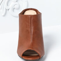 Chestnut Leatherette Peep Toe Clog Booties - LoveCulture
