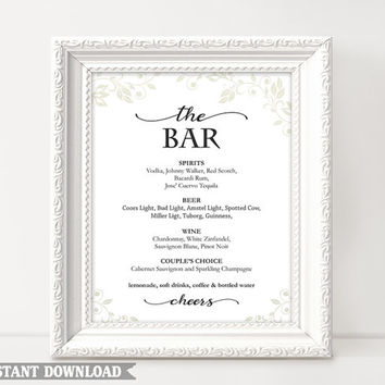 Bar sign, Bar Menu Sign, Printable bar sign, Wedding Bar Sign, Custom signs, Drinks sign, wedding templates, Instant Download, Script Sign