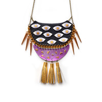 Orchid Statement Necklace, Purple and Gold Eye Bib Necklace, Tassel Necklace, Geometric Necklace | Boo and Boo Factory - Handmade Leather Jewelry