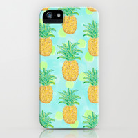 Pineapples and Polka Dots iPhone & iPod Case by Lisa Argyropoulos