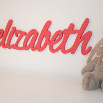 Wooden name sign Baby Name Plaque Large PAINTED Personalized nursery name baby wall hanging nursery decor wooden wall art, above a crib