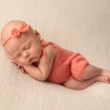 Salmon Mohair Knitted baby romper headband set/ Baby girl overall / babygirl outfit / Newborn Photo props / Newborn photo outfit