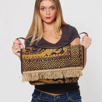 Vintage 60s CARPET Bag KILIM Rug Bag with FRINGE Tapestry Handbag Boho Hippie Carpet Bag