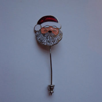 Vintage Collectible Enamel Santa Claus Pin, Christmas Holiday Hat Lapel Pin, Gifts Under !0