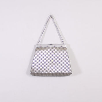 Vintage 60s Whiting & Davis PURSE / 1960s Matte Brushed Silver Metal Mesh Hand Bag