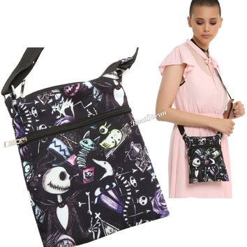 Licensed cool Disney The Nightmare Before Christmas Sketchy Canvas Crossbody Purse Bag Tote
