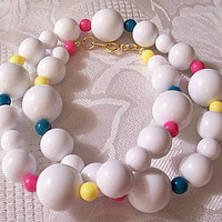Avon White Bead 20 Inches Long Necklace Gold Tone Vintage Pink Yellow Blue Red Green 1989 Club Capri Choker