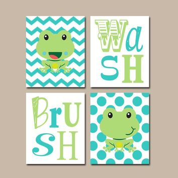 FROG Bathroom Wall Art, Frog Bath Decor, Frog Wash Brush Rules, Kid Bathroom, CANVAS or Prints, Girl Boy Bathroom, Brother Sister Set of 4