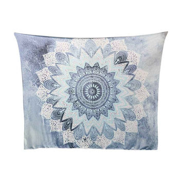 Boho Hippie Mandala Powder Blue Tapestry Bedspread,  Beach Throw, Yoga Mat,  Home Decor 150*130c Polyester