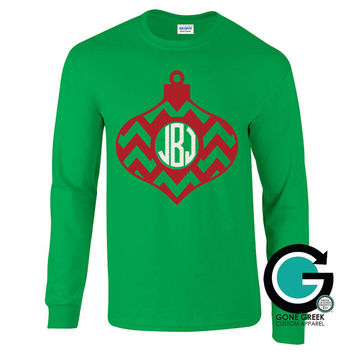 SALE!! Chevron Ornament Printed Shirt with Monogram or Greek Letters (Sorority or Fraternity) -- Great for the Holiday's!!