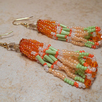 Summer Earrings Orange and Green Seed Beaded Made with Swarovski Crystals Gold Plated Tassel Loop Chandelier Spring Fashion Beadwork Ladies