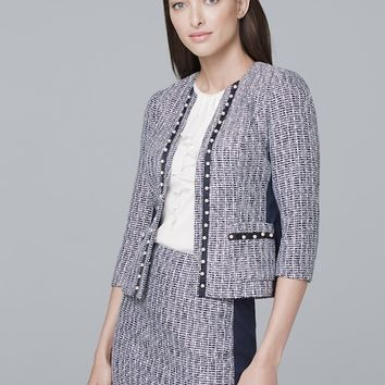 White House Black Market Embellished Pearl Tweed Jacket