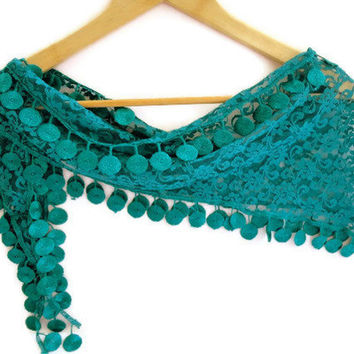 fashion scarves, women new scarf trends, oil green scarf, Cowl Scarf with Lace Edge, for her