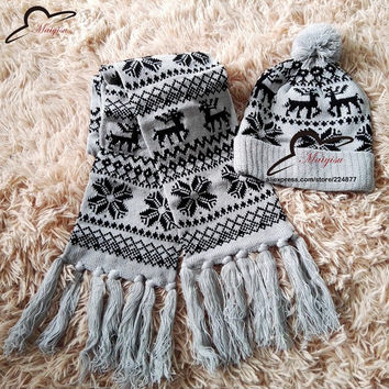 autumn and winter lovers christmas deer knitted beanie hat knitted scarf snow two pieces set cap warm for women girls kids