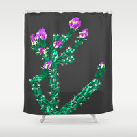 Flowering Cactus Shower Curtain by K_c_s