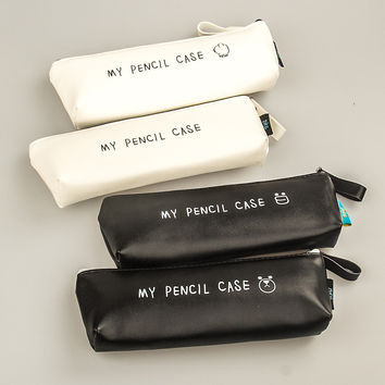 Best Deal High Quality PU Leather Pencil Case Classical Black And White Color Kawaii Korea Stationery School Supplies Pencil Bag