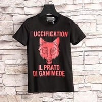 """Gucci"" Unisex Fashion Casual Wolf Head Print Letter Short Sleeve Couple T-shirt Top Tee"
