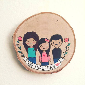 Cute Family Portrait, Wood slice,Wood wall art,Wood wall decor,Wood slice,Painting,Gift