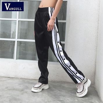 Vangull Side Split Button Harem Pants New Women Full Length Black Loose Summer High Waist Patchwork Stripes Stain Trousers Femme