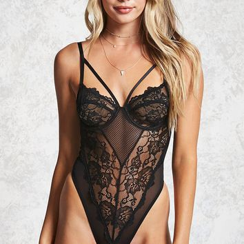 Floral Lace Thong Teddy