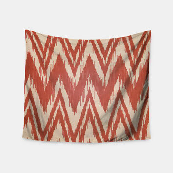 "Heidi Jennings ""Tribal Chevron Red"" Tan Maroon Wall Tapestry"